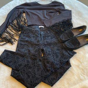 Kensie velvet black pattern skinny jeans